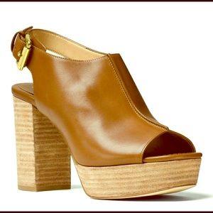 Michael Kors vachetta bwn leather, with peep, toe